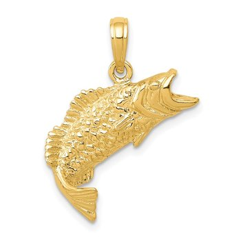 14K Gold Polished Textured Bass Fish Pendant