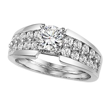 14K Diamond Engagement Ring 1 ctw With 1 ct Center Diamond