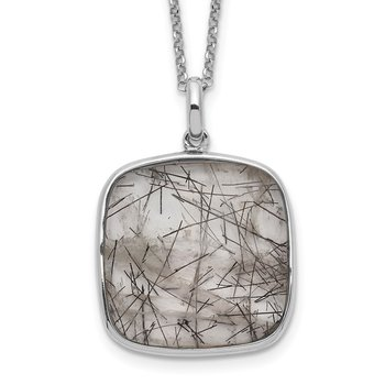 Sterling Silver Rhodium-plated Square Black Rutilated Quartz Necklace