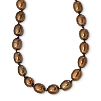Sterling Silver Rhodium 7-8mm Brown FWC Rice Pearl Necklace