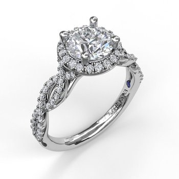 Round Halo Twist Engagement Ring