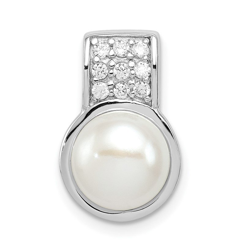 Quality Gold Sterling Silver Rhodium Plated CZ White FW Cultured Pearl Pendant