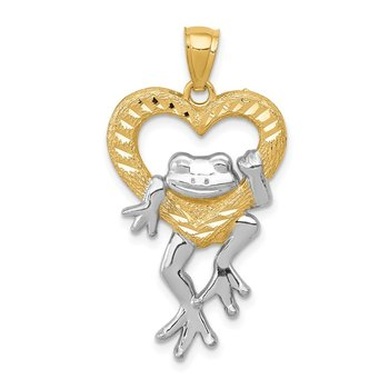 14k and Rhodium D/C Frog in Heart Pendant