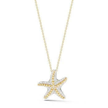"Two Tone star fish pendant crafted in 14K and 0.23C 3/4"" diameter"