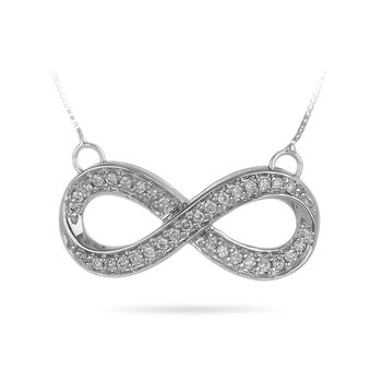 10K WG Diamond Infinity Necklace Pendant In channel prong Setting