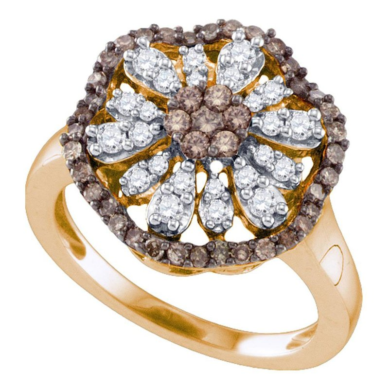 Gold-N-Diamonds, Inc. (Atlanta) 10k Rose Gold Womens Cognac-brown Color Enhanced Round Diamond Flower Cluster Ring 3/4 Cttw