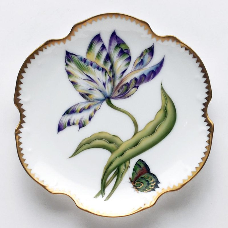 Anna Weatherley Yellow, Green, Purple, & Blue Tulip Bread & Butter Plate