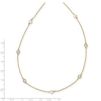 14K Madi K 4-5mm White Round FW Cultured Pearl 3-station CZ Necklace