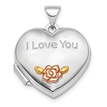 Sterling Silver Rhod-plate Rose & Gold-tone Flower I Love You Heart Locket