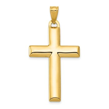 14K W/Rhodium Reversible Yellow/White Cross Pendant