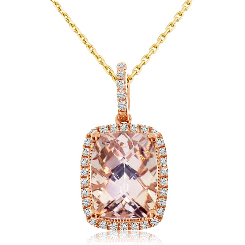 Color Merchants 14k Rose Gold Morganite and Diamond Pendant