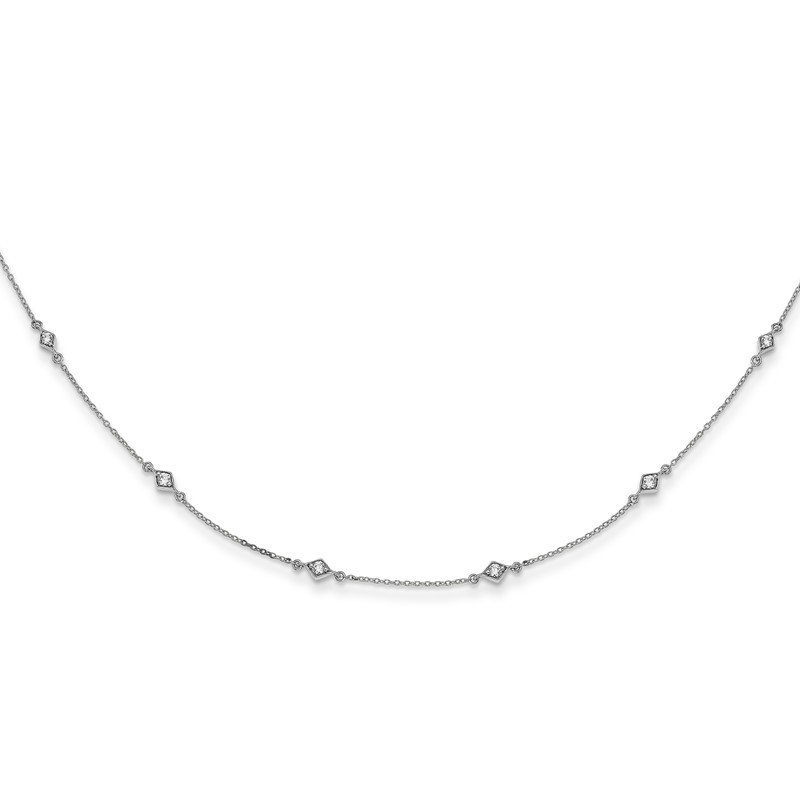 Quality Gold 14k White Gold Diamond Multi Station Necklace