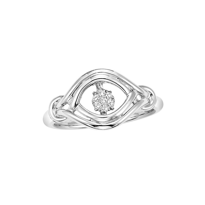 Necker's Signature Collection Silver Diamond Rhythm Of Love Ring 1/20 ctw