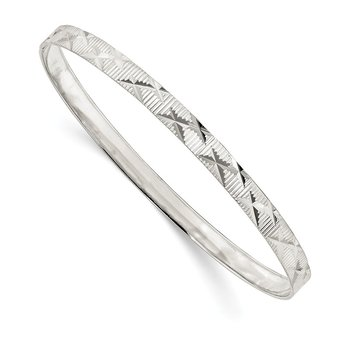Sterling Silver 5mm Diamond Cut Slip-on Bangle