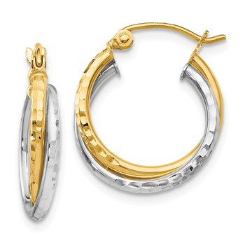 Leslie's 14K Two-tone Diamond-cut Hinged Hoop Earrings