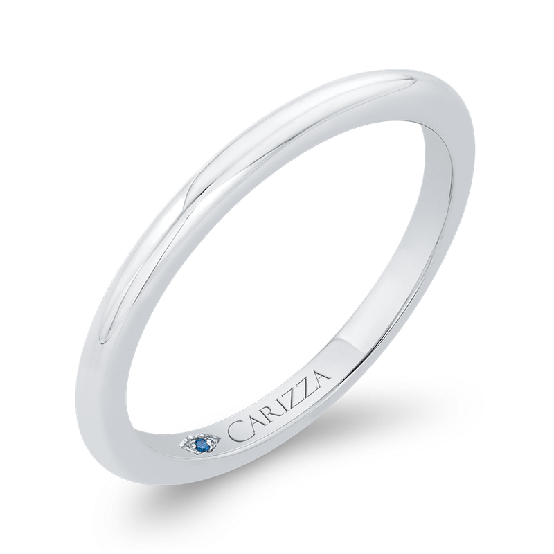 Carizza 14K White Gold Plain Wedding Band