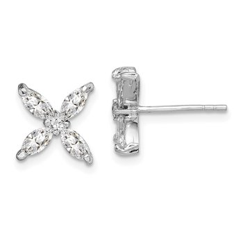 Sterling Silver Rhodium-plated CZ Flower Post Earrings