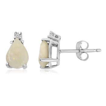14k White Gold Pear Opal and Diamond Earringss