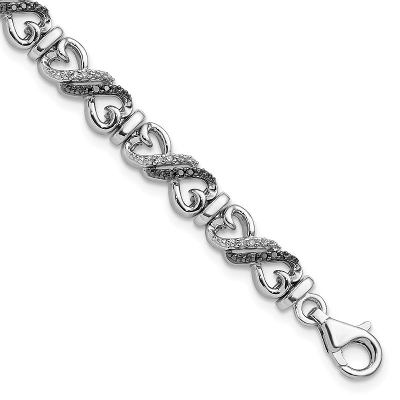 J.F. Kruse Signature Collection Sterling Silver Rhod Plated Black & White Diamond Bracelet