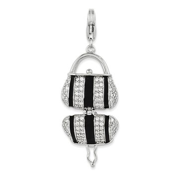 Sterling Silver Black Enameled CZ Handbag w/Lobster Clasp Charm