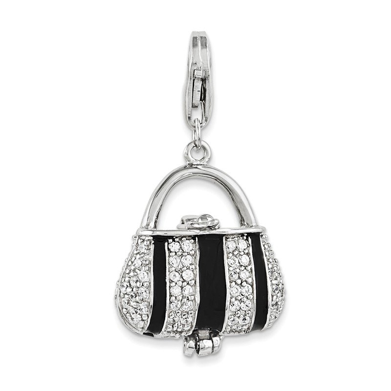 Quality Gold SS RH Black Enameled CZ Handbag w/Lobster Clasp Charm