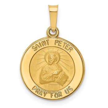 14k Polished and Satin St Peter Medal Hollow Pendant