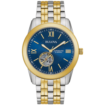 Two-Tone Bracelet Open Heartbeat Watch with Blue Dial