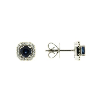 18k White Gold Earrings with Sapphire & Diamond