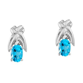 14k White Gold 6x4 mm Blue Topaz and Diamond Oval Shaped Earrings