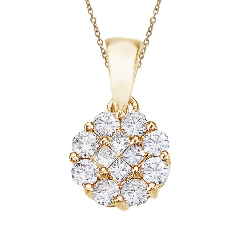 Color Merchants 14K Yellow Gold .50 Ct Diamond Clustaire Pendant