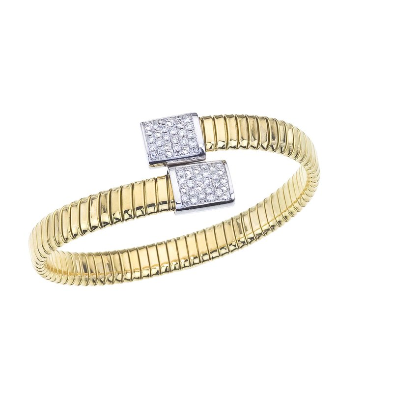 DA Gold Two-Tone Bypass Bangle with Diamonds