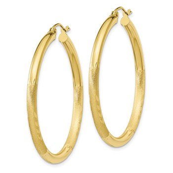 10k Satin & Diamond-cut 3mm Round Hoop Earrings