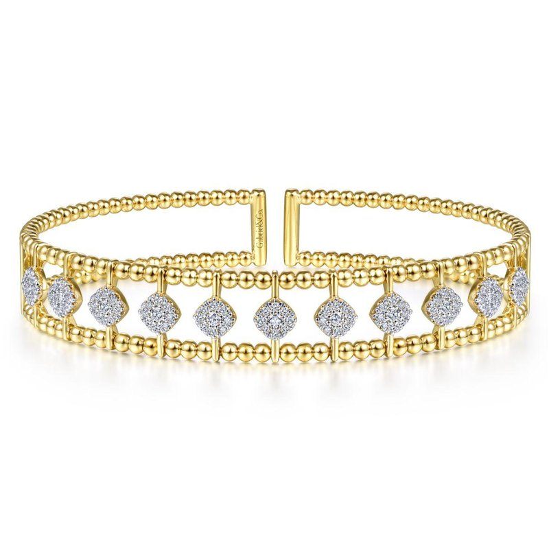 Gabriel Fashion Top Picks 14K Yellow Gold Bujukan Bead Cuff Bracelet with Pavé Diamond Connectors