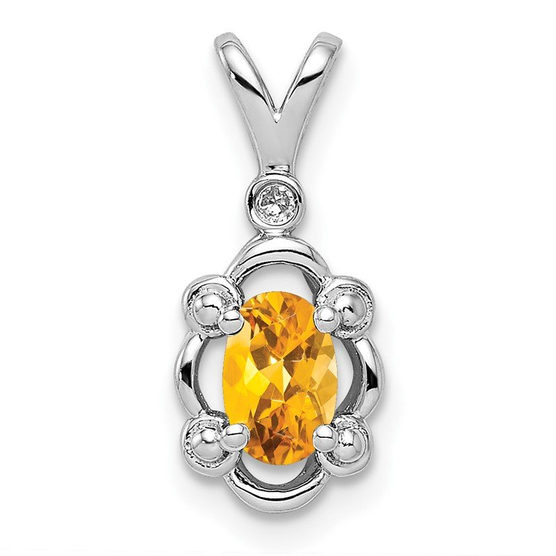 Quality Gold Sterling Silver Rhodium-plated Citrine & Diam. Pendant