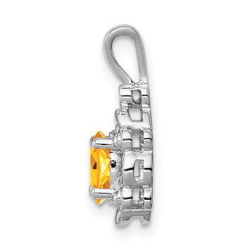 Sterling Silver Rhodium-plated Citrine & Diam. Pendant
