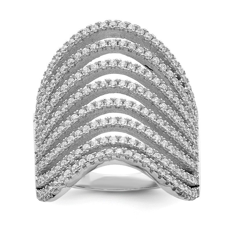 Quality Gold Sterling Silver Rhodium-plated Multi CZ Wave Design Ring