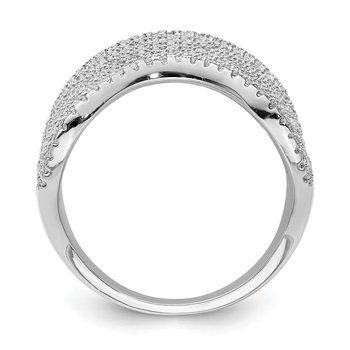 Sterling Silver Rhodium-plated Multi CZ Wave Design Ring
