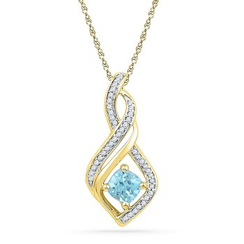 10kt Yellow Gold Womens Round Blue Topaz Solitaire Diamond Pendant 3/4 Cttw