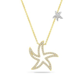 "14K MEDIUM OPEN STARFISH NECKLACE 84 DIAMONDS 0.47CT 18"" CHAIN"