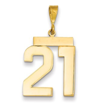 14k Large Polished Number 21 Charm