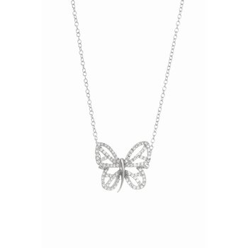 Silver Butterfly CZ Necklace