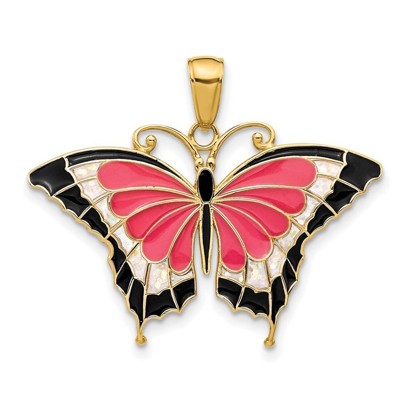 Quality Gold 14K Enameled Butterfly Pendant