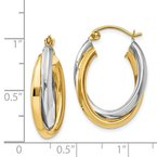 Quality Gold 14k Two-tone Polished Double Oval Hoop Earrings