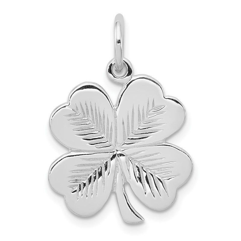 Quality Gold Sterling Silver Rhodium-plated Polished/Textured 4 Leaf Clover Pendant