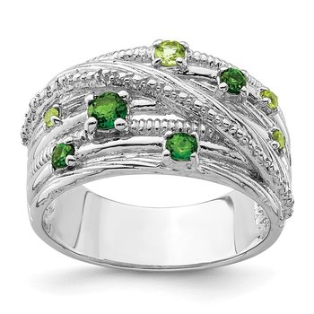 Sterling Silver Rhod-plat Chrome Diopside and Peridot Ring