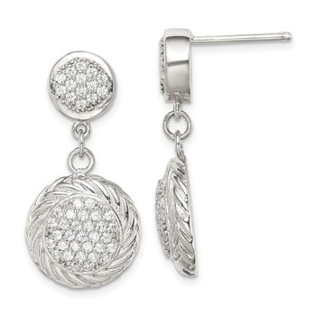 Sterling Silver CZ Circle Dangle Earrings