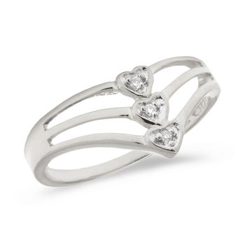 10K White Gold Diamond Heart Ring