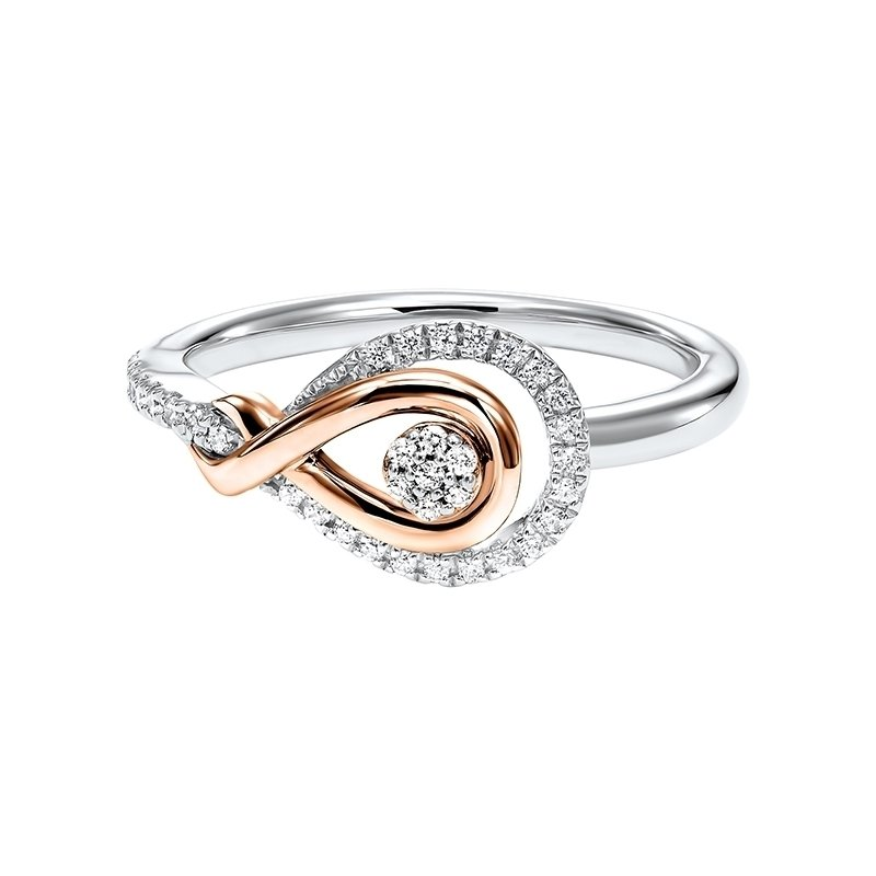 Calvin Broyles Diamond Swirling Cluster Love Knot Ring in 14k Yellow Gold & Sterling Silver (⅙ ctw)