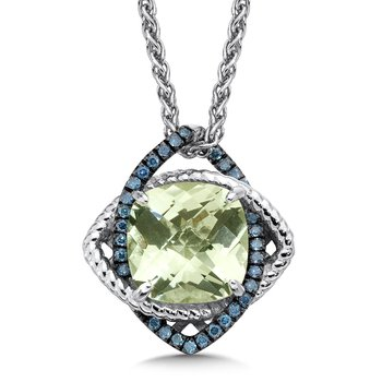 Sterling silver, green amethyst and blue diamond pendant