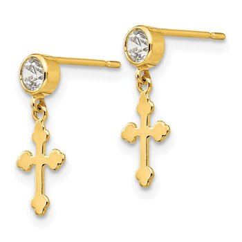 14k Madi K CZ Children's Cross Dangle Post Earrings